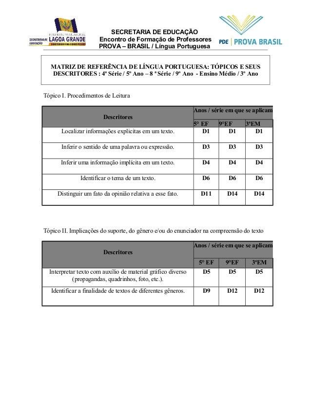 SECRETARIA DE EDUCAÇÃO  Encontro de Formação de Professores  PROVA – BRASIL / Língua Portuguesa  MATRIZ DE REFERÊNCIA DE L...