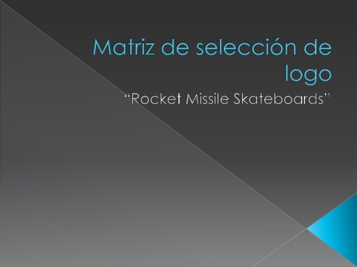 """Matriz de selección de logo<br />""""RocketMissileSkateboards""""<br />"""