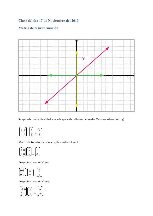 Clase del día 17 de Noviembre del 2010 Matriz de transformación x y - 7 - 6 - 5 - 4 - 3 - 2 - 1 0 1 2 3 4 5 6 7 - 4 - 3 - ...