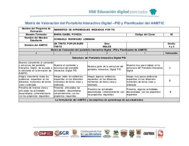 Matriz de Valoración del Portafolio Interactivo Digital –PID y Planificador del AAMTIC Nombre del Programa de Formación AM...