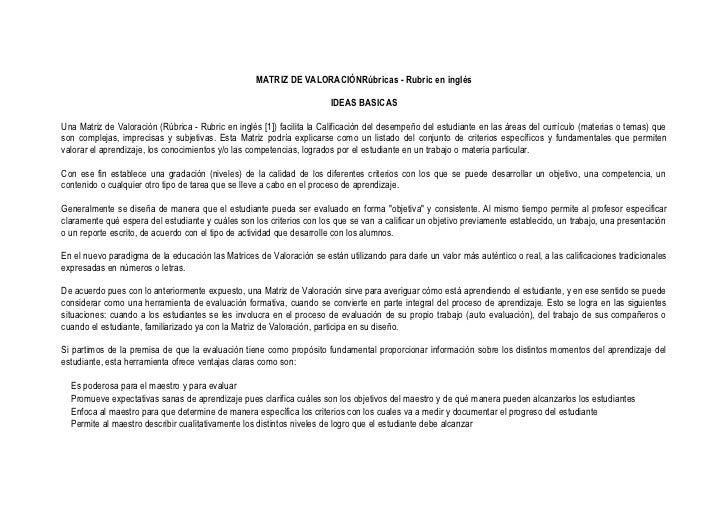 MATRIZ DE VALORACIÓNRúbricas - Rubric en inglés                                                                       IDEA...