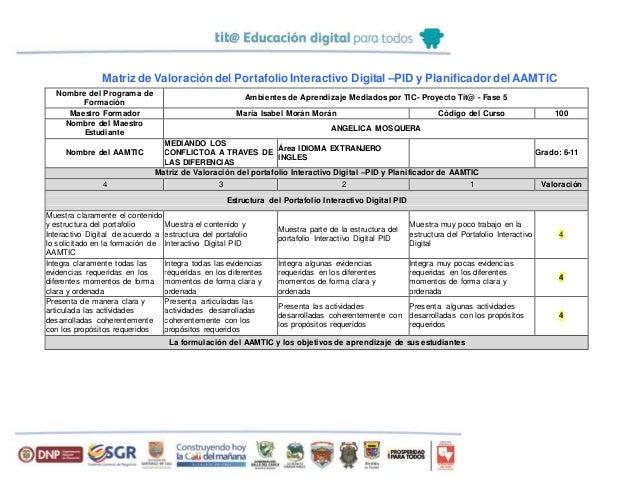 Matriz de Valoracióndel Portafolio Interactivo Digital –PID y Planificador delAAMTIC Nombre del Programa de Formación Ambi...