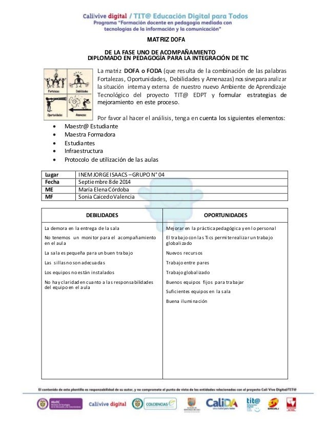 MATRIZ DOFA  DE LA FASE UNO DE ACOMPAÑAMIENTO  DIPLOMADO EN PEDAGOGÍA PARA LA INTEGRACIÓN DE TIC  La matriz DOFA o FODA (q...