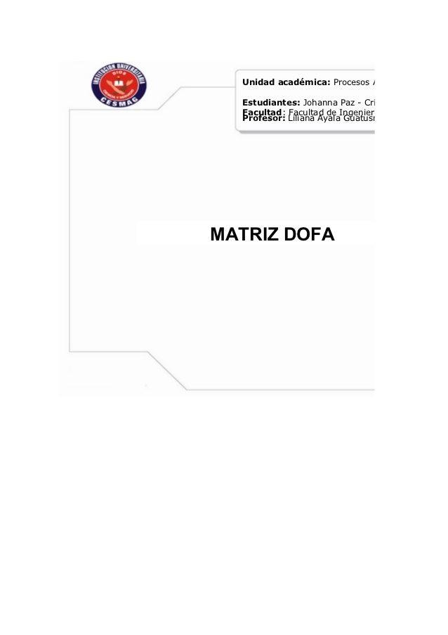 Unidad académica: Procesos Administrativos  Estudiantes: Johanna Paz - Cristian Paz  Facultad: Facultad de Ingenieria  Pro...
