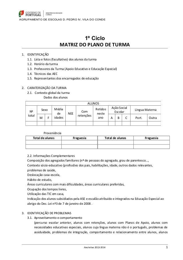 AGRUPAMENTO DE ESCOLAS D. PEDRO IV, VILA DO CONDE  1º Ciclo MATRIZ DO PLANO DE TURMA 1. IDENTIFICAÇÃO 1.1. Lista e fotos (...