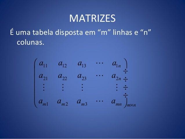 """MATRIZES É uma tabela disposta em """"m"""" linhas e """"n"""" colunas. 11 12 13 1 21 22 23 2 1 2 3 n n m m m mn m n a a a a a a a a a..."""
