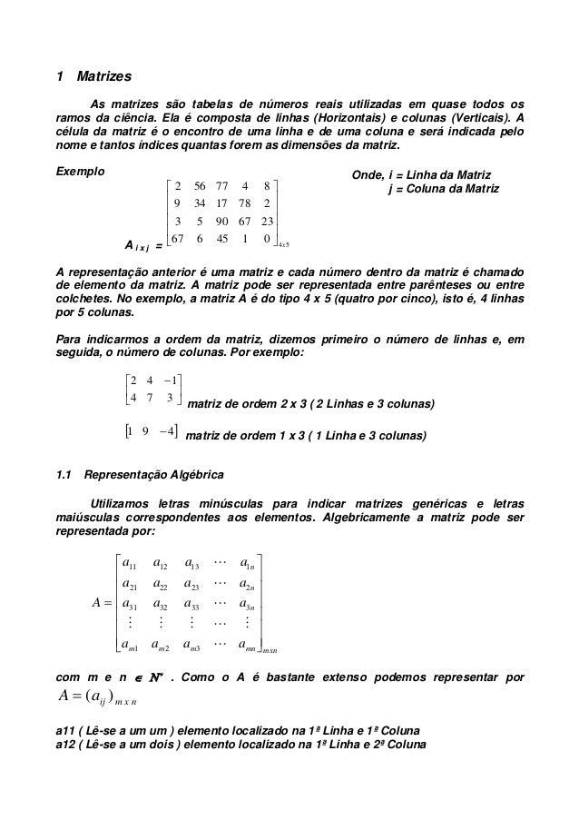 1 Matrizes As matrizes são tabelas de números reais utilizadas em quase todos os ramos da ciência. Ela é composta de linha...
