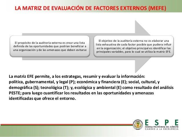 Matriz Evaluacion Fac Externos Internos