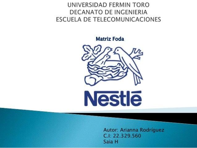 Matriz Foda  Autor: Arianna Rodríguez C.I: 22.329.560 Saia H