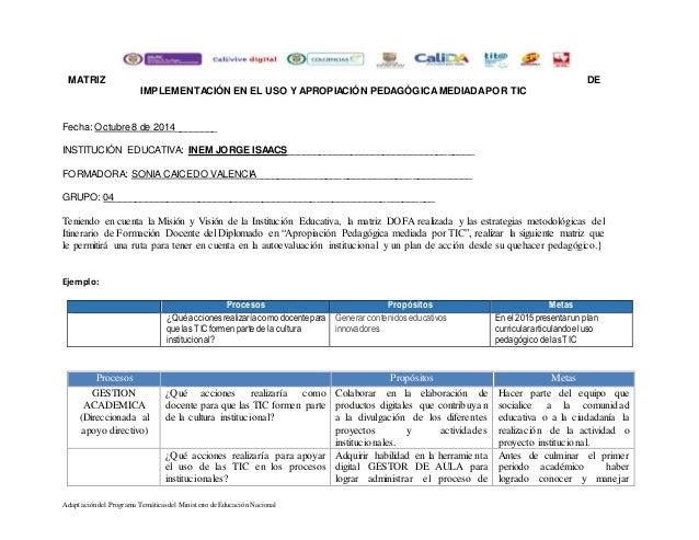MATRIZ DE  IMPLEMENTACIÓN EN EL USO Y APROPIACIÓN PEDAGÓGICA MEDIADA POR TIC  Fecha: Octubre 8 de 2014________  INSTITUCIÓ...