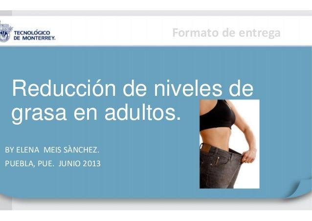 Formato de entregaReducción de niveles degrasa en adultos.BY ELENA MEIS SÀNCHEZ.PUEBLA, PUE. JUNIO 2013