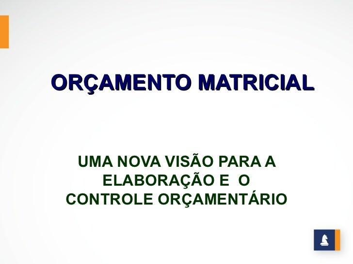 ORÇAMENTO MATRICIAL  UMA NOVA VISÃO PARA A    ELABORAÇÃO E O CONTROLE ORÇAMENTÁRIO