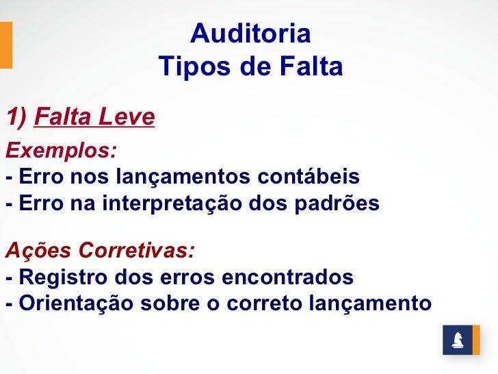 Auditoria                Tipos de Falta1) Falta LeveExemplos:- Erro nos lançamentos contábeis- Erro na interpretação dos p...