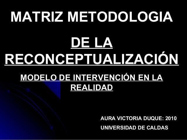 MATRIZ METODOLOGIA DE LA RECONCEPTUALIZACIÓN MODELO DE INTERVENCIÓN EN LA REALIDAD AURA VICTORIA DUQUE: 2010 UNIVERSIDAD D...
