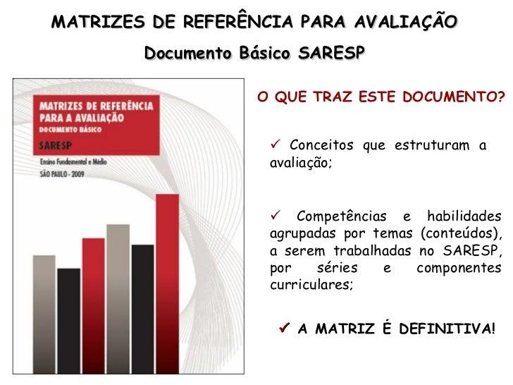 MATRIZES DE REFERÊNCIA PARA AVALIAÇÃO        Documento Básico SARESP                   O QUE TRAZ ESTE DOCUMENTO?         ...