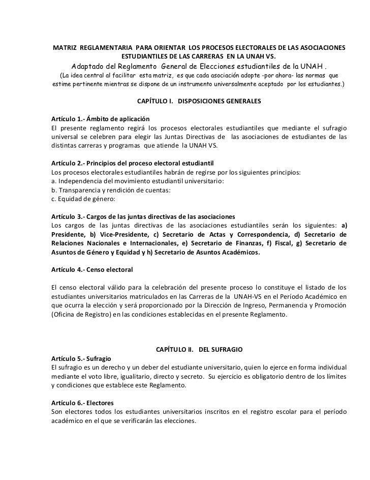 MATRIZ REGLAMENTARIA PARA ORIENTAR LOS PROCESOS ELECTORALES DE LAS ASOCIACIONES                  ESTUDIANTILES DE LAS CARR...