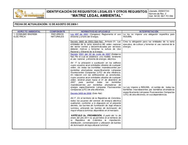 """IDENTIFICACIÓN DE REQUISITOS LEGALES Y OTROS REQUISITOS """"MATRIZ LEGAL AMBIENTAL"""" Liberado. 2009/07/30 Número de Rev. 2 Cód..."""