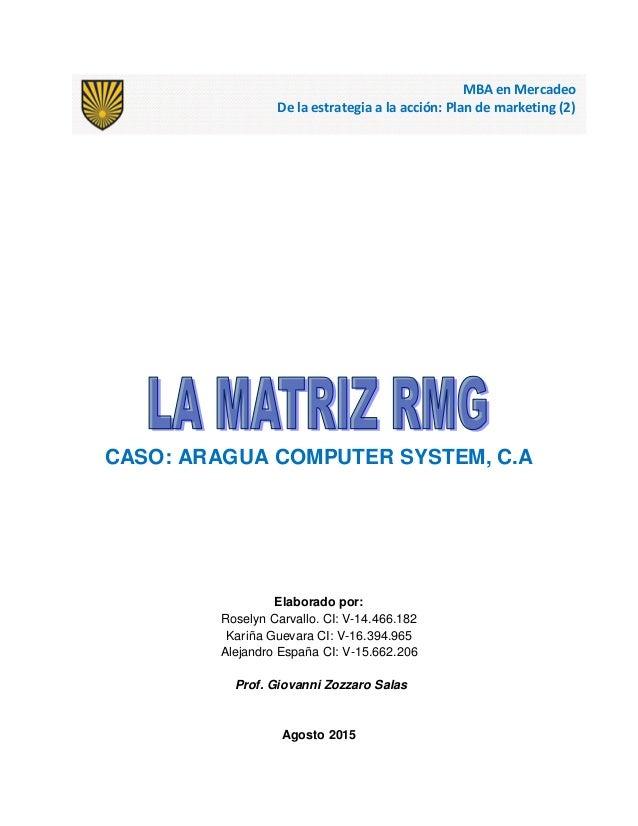 CASO: ARAGUA COMPUTER SYSTEM, C.A Elaborado por: Roselyn Carvallo. CI: V-14.466.182 Kariña Guevara CI: V-16.394.965 Alejan...