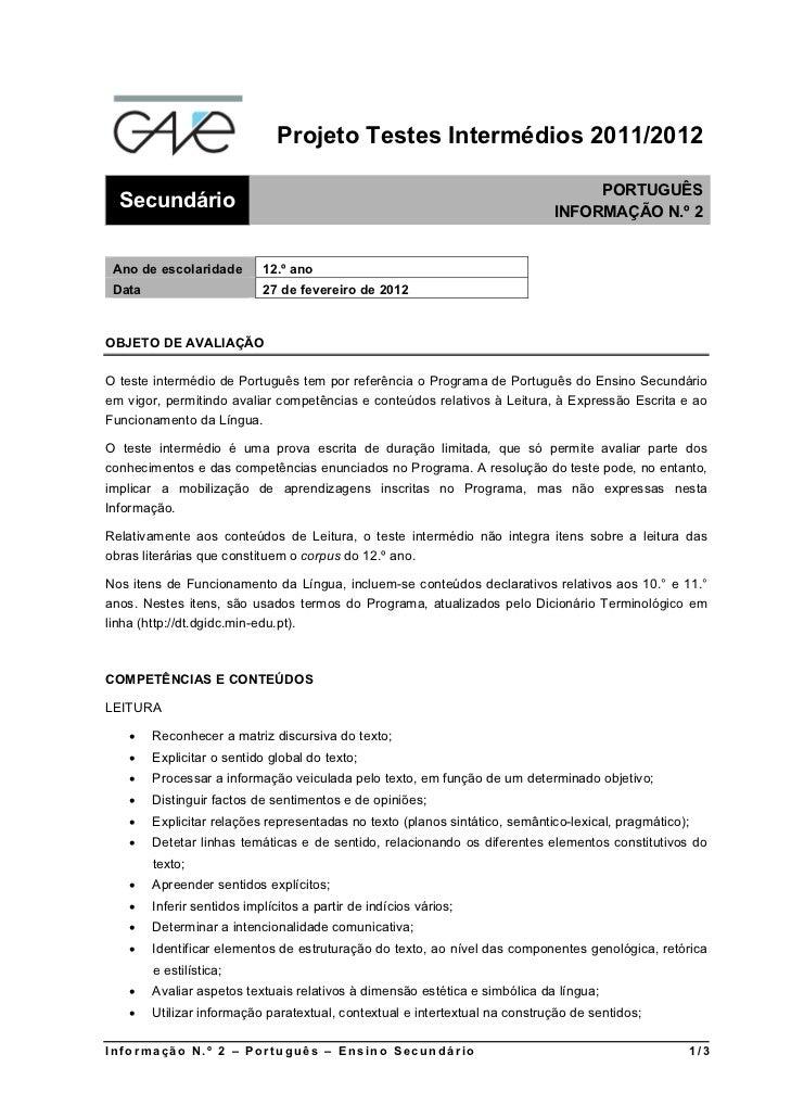 Projeto Testes Intermédios 2011/2012                                                                                  PORT...