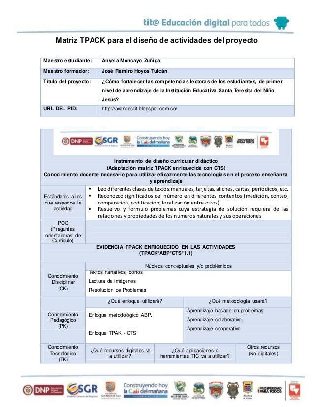 Matriz TPACK para el diseño de actividades del proyecto Maestro estudiante: Anyela Moncayo Zuñiga Maestro formador: José R...
