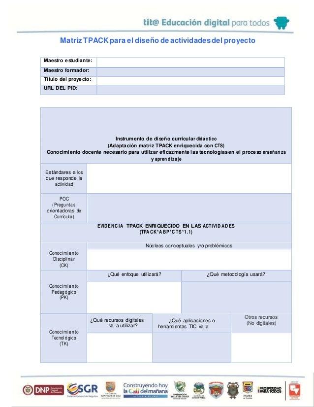 Matriz TPACK para el diseño de actividadesdel proyecto Maestro estudiante: Maestro formador: Título del proyecto: URL DEL ...