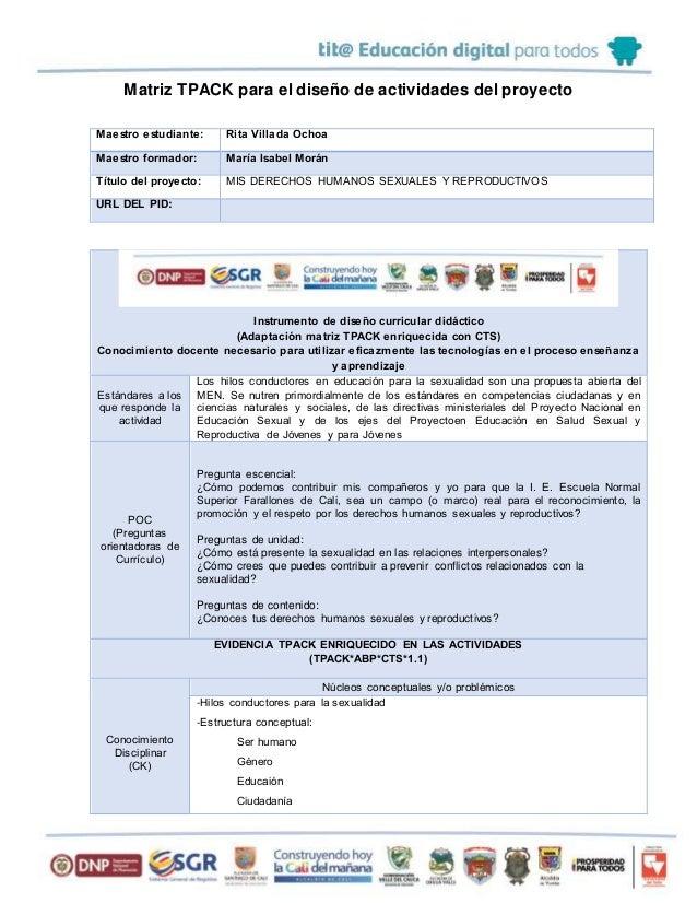 Matriz TPACK para el diseño de actividades del proyecto Maestro estudiante: Rita Villada Ochoa Maestro formador: María Isa...