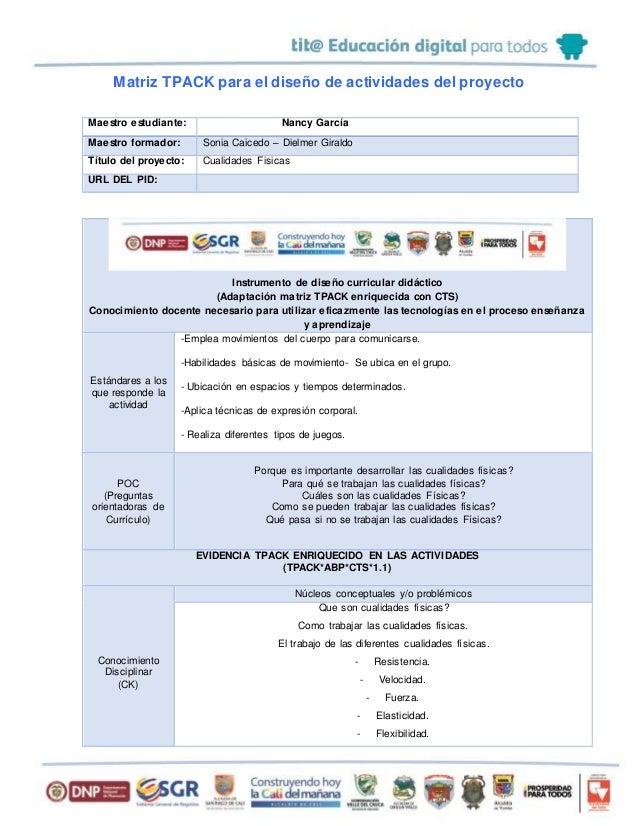 Matriz TPACK para el diseño de actividades del proyecto Maestro estudiante: Nancy García Maestro formador: Sonia Caicedo –...