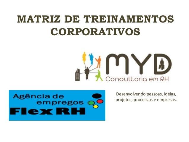MATRIZ DE TREINAMENTOS CORPORATIVOS Desenvolvendo pessoas, idéias, projetos, processos e empresas.