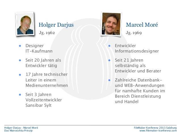 Holger Darjus  Marcel Moré  Jg. 1962  Jg. 1969  •  Designer IT-Kaufmann  •  Entwickler Informationsdesigner  •  Seit 20 Ja...