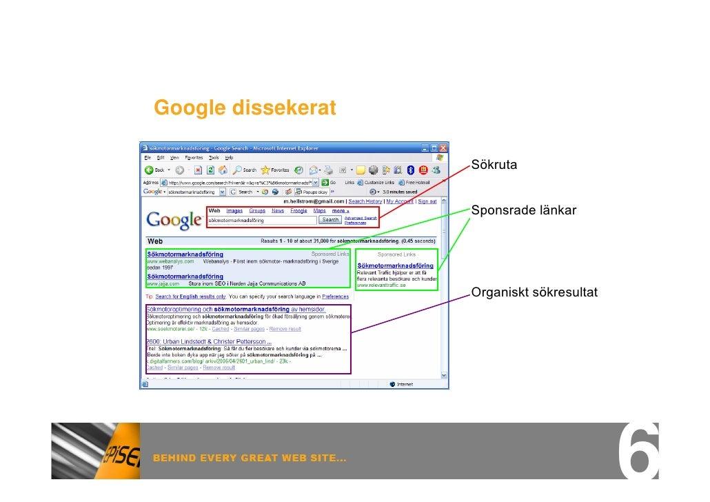 Google dissekerat                      Sökruta                       Sponsrade länkar                         Organiskt sö...