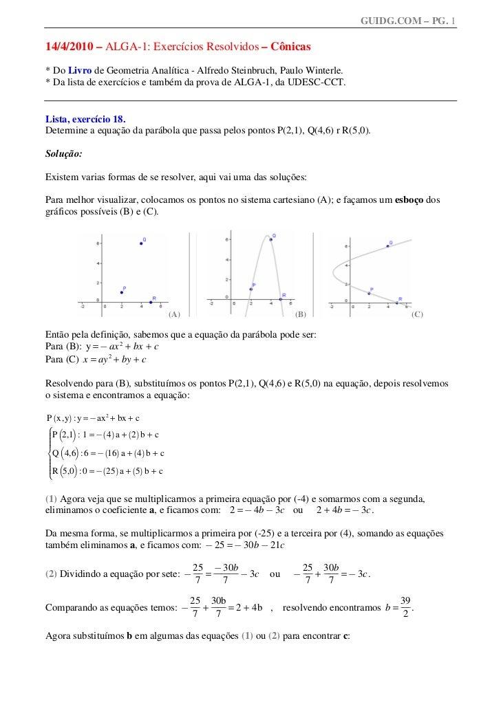 GUIDG.COM – PG. 114/4/2010 – ALGA-1: Exercícios Resolvidos – Cônicas* Do Livro de Geometria Analítica - Alfredo Steinbruch...