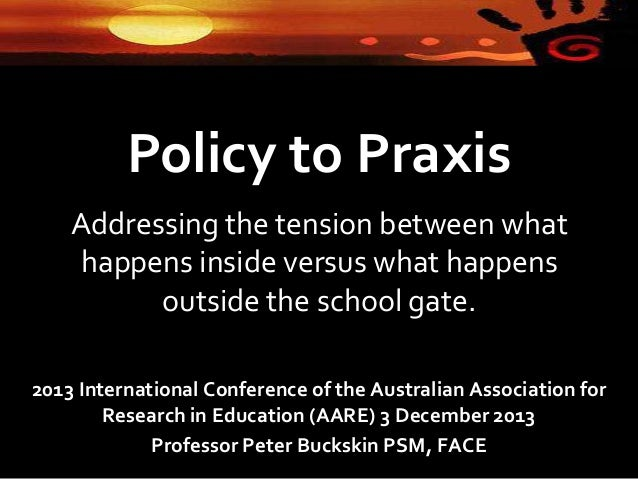 Policy to Praxis Addressing the tension between what happens inside versus what happens outside the school gate. 2013 Inte...