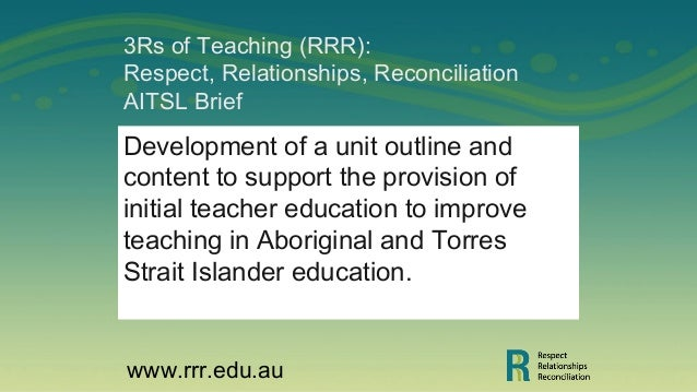 3Rs of Teaching (RRR): Respect, Relationships, Reconciliation AITSL Brief Development of a unit outline and content to sup...