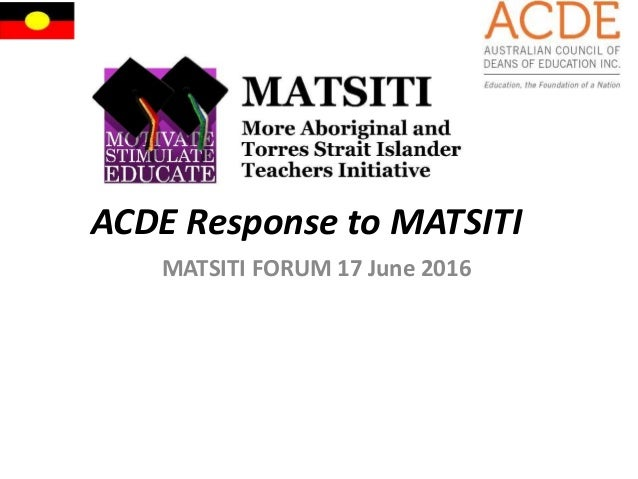 ACDE Response to MATSITI MATSITI FORUM 17 June 2016