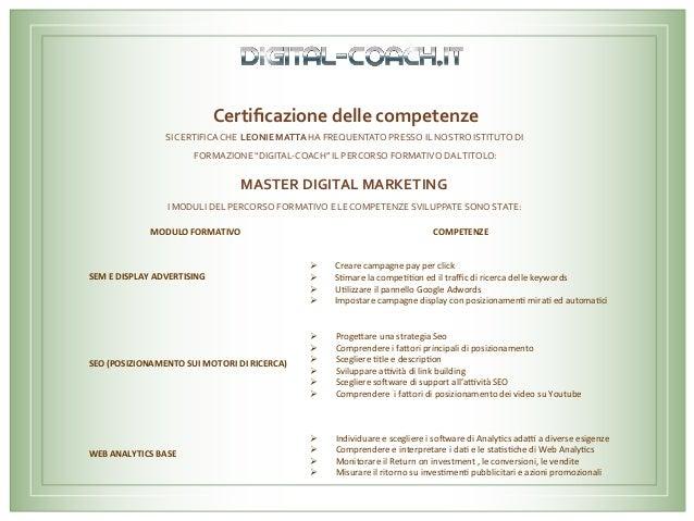 Certificazionedellecompetenze     SICERTIFICACHELEONIEMATTAHAFREQUENTATOPRESSOILNOSTROISTITUTODI FORMA...