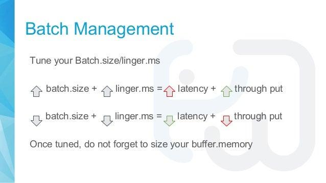 Batch Management Tune your Batch.size/linger.ms batch.size + linger.ms = latency + through put batch.size + linger.ms = la...
