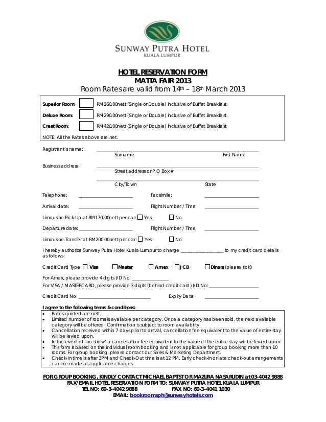 Hotel reservation form matta fair 14 18 march 2013 sunway putra hot hotel reservation form matta fair 2013 altavistaventures Choice Image