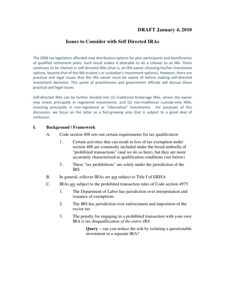 DRAFT January 4, 2010                         Issues to Consider with Self Directed IRAs   The2006taxlegislationafford...