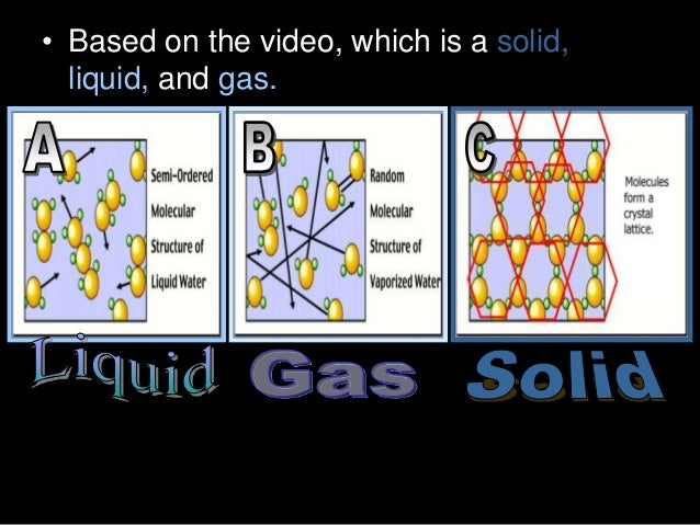 • Based on the video, which is a solid, liquid, and gas.
