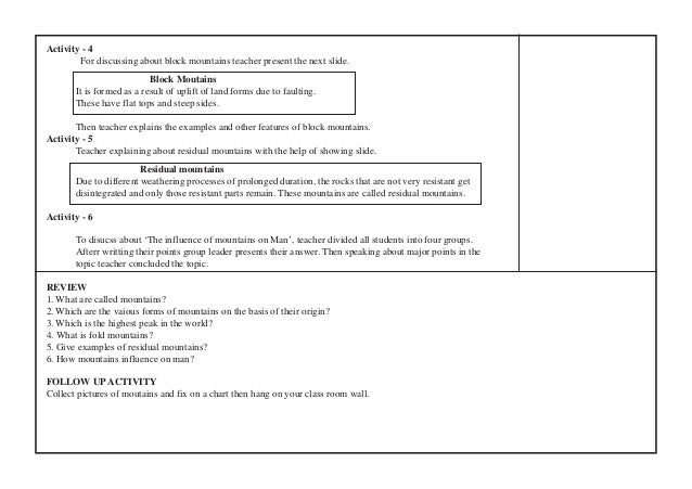 Activity - 4  For discussing about block mountains teacher present the next slide.  Block Moutains  It is formed as a resu...