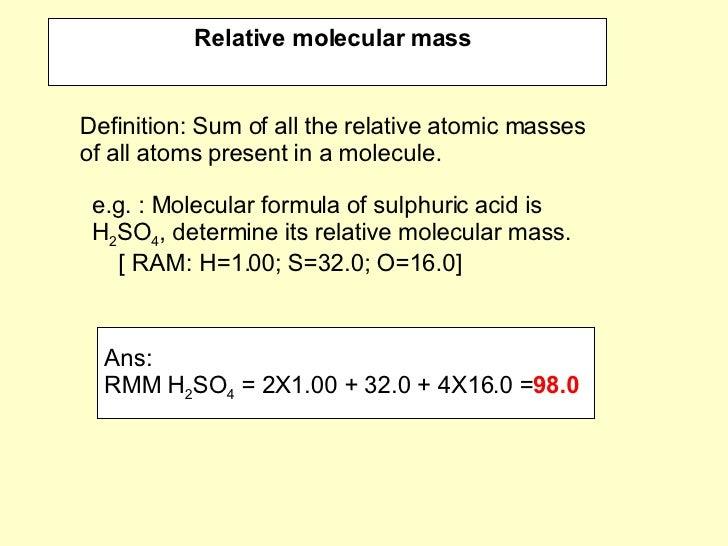 relative atomic mass and relative molecular mass pdf