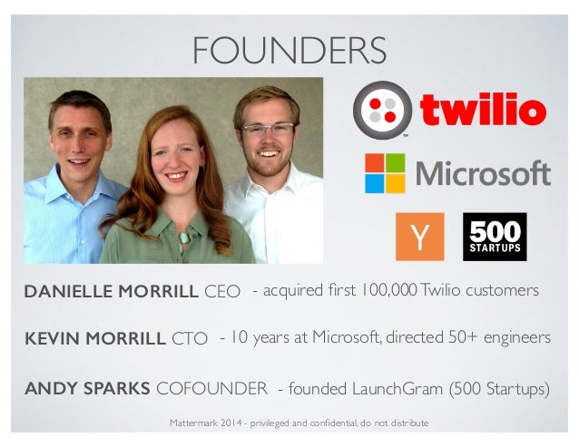 Mattermark 2014 - privileged and confidential, do not distribute FOUNDERS KEVIN MORRILL CTO DANIELLE MORRILL CEO ANDY SPARK...