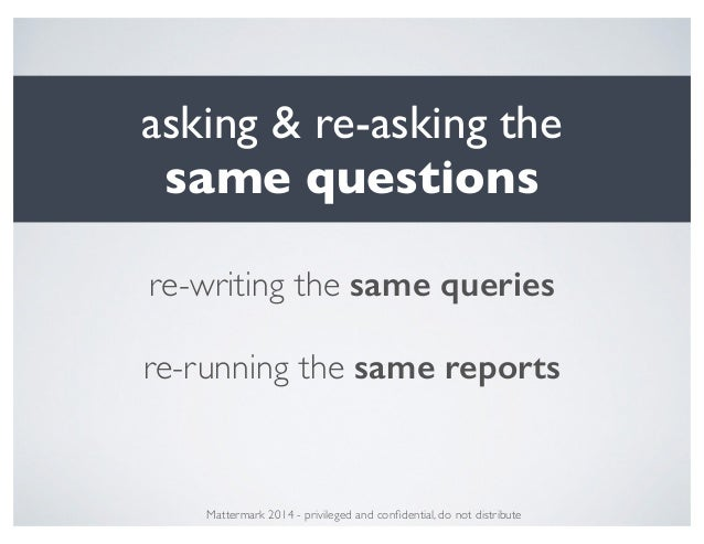 asking & re-asking the! same questions Mattermark 2014 - privileged and confidential, do not distribute re-writing the same...