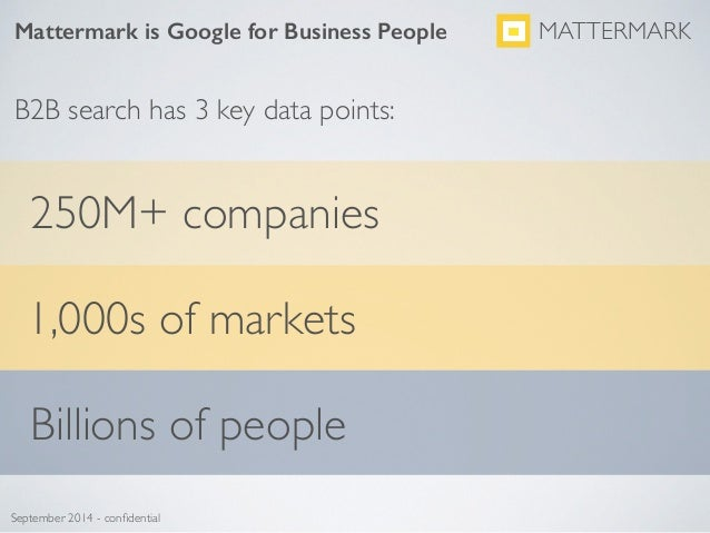 Mattermark is Google for Business People MATTERMARK September 2014 - confidential B2B search has 3 key data points: 250M+ c...