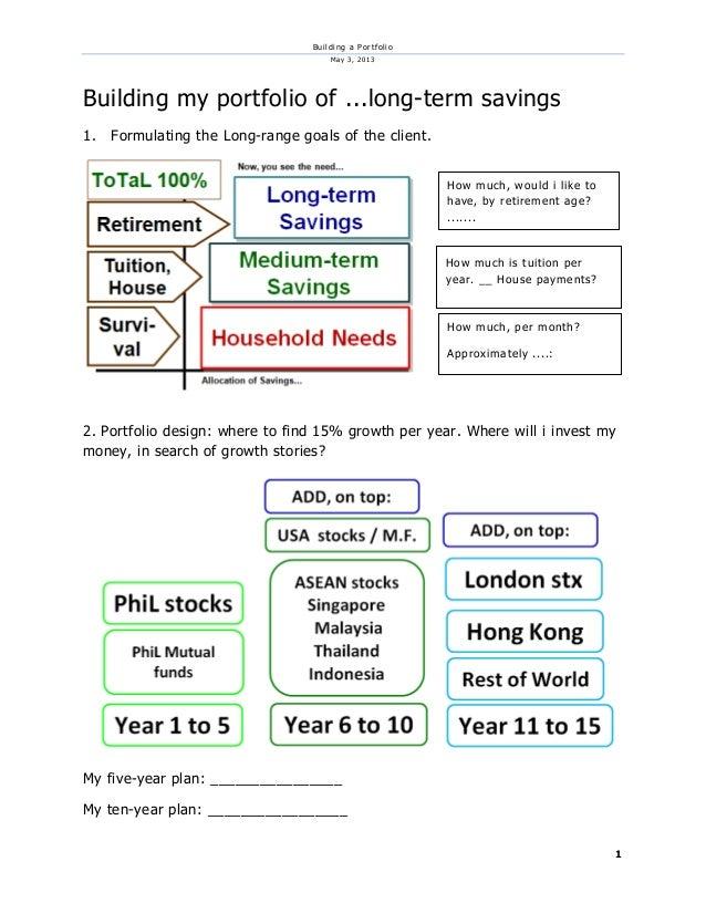 Building a PortfolioMay 3, 20131Building my portfolio of ...long-term savings1. Formulating the Long-range goals of the cl...