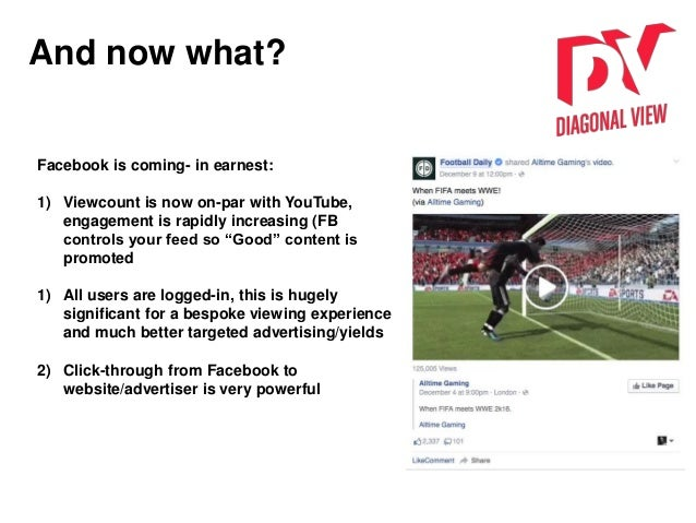 And now what? Facebook is coming- in earnest: 1) Viewcount is now on-par with YouTube, engagement is rapidly increasing (F...