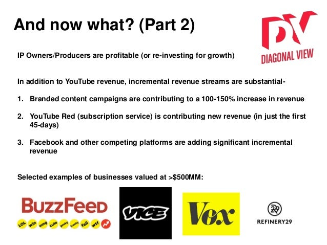And now what? (Part 2) IP Owners/Producers are profitable (or re-investing for growth) In addition to YouTube revenue, inc...