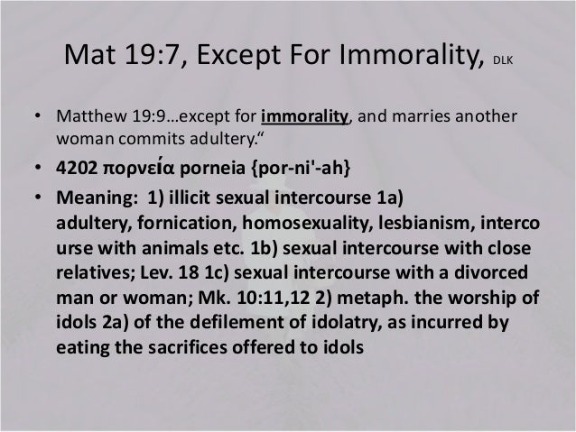 Sexual Immorality Bible Definition