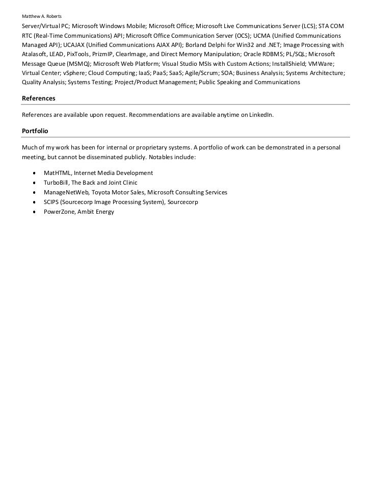matthew a  roberts resume