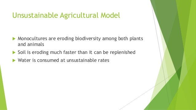 Unsustainable Agricultural Model  Monocultures are eroding biodiversity among both plants and animals  Soil is eroding m...